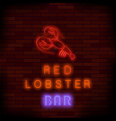 Colorful neon lobster bar sign vector