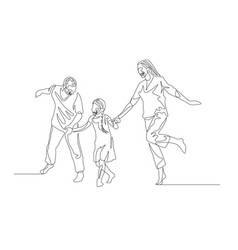 continuous line family walking together and vector image