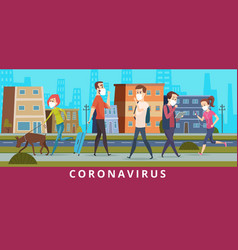 coronavirus people in city air ncov virus vector image