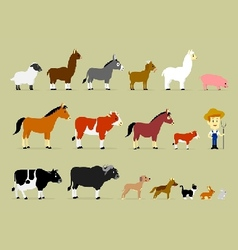 Cute cartoon farm characters vector