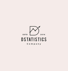 d letter stats logo hipster retro vintage icon vector image