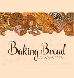decor for a shop or cafe with pastries bread vector image