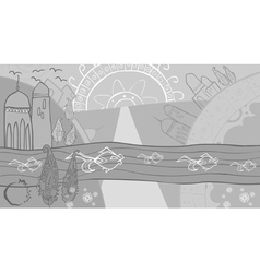 Drawing oriental style town by the river vector