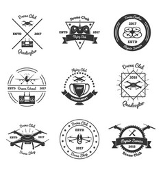 Drone monochrome emblems set vector