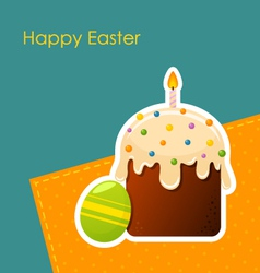 Easter egg and cake with candle vector image