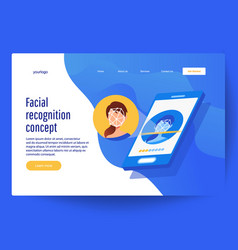 Face recognition technology concept vector