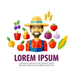 farmer logo design template harvest or vector image