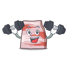 Fitness pork lard character cartoon vector
