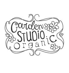 Garden organic studio black and white promo sign vector