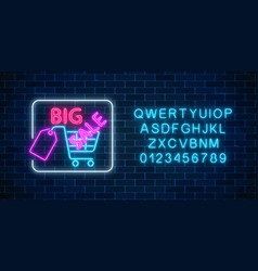glowing neon sign of big sale banner with vector image