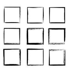 grunge frames isolated black square borders vector image