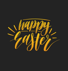 happy easter calligraphy on black vector image