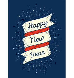 Happy new year ribbon banner in engraving style vector