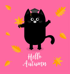 hello autumn black cat graduation hat academic vector image