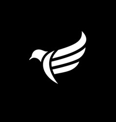 initial letter e logo template with pigeon bird vector image