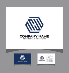 Initials sh logo with a business card vector