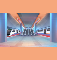 interior subway or metro station with trains vector image