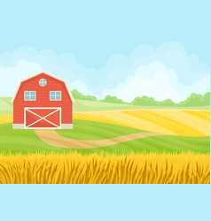 Large red barn in a field wheat vector