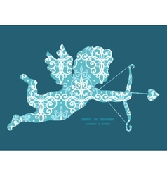 Light blue swirls damask shooting cupid vector