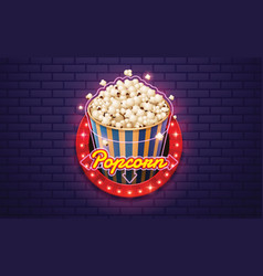 light sign popcorn brickwall background vector image