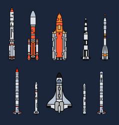 Line color icon set elements of aerospace vector