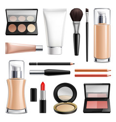 makeup cosmetics realistic set vector image