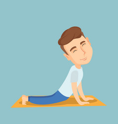 Man practicing yoga upward dog pose vector