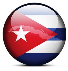 Map on flag button of Republic of Cuba vector image