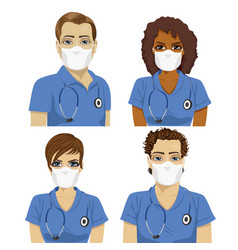 Medical nurse staff team wearing surgical masks vector