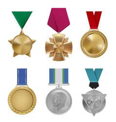 military awards sport leadership round golden vector image