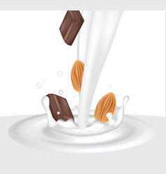 milk splash with almond and chocolate vector image
