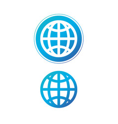 modern blue globe icon in circle earth or world vector image