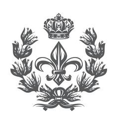 monochrome pattern with fleur de lis laurel vector image