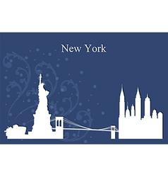New York city skyline on blue background vector