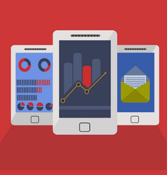 On line trading signals and mail reports on mobile vector