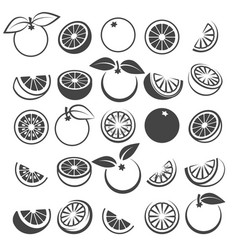 orange black icons set vector image