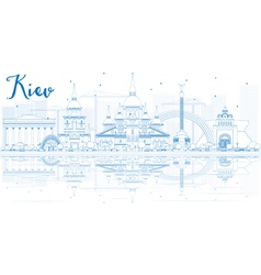 Outline Kiev skyline with blue buildings vector