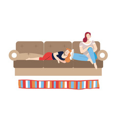 People relaxing on weekdays female friends on vector