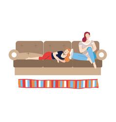 People relaxing on weekdays female friends vector