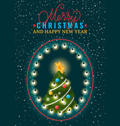 postcard merry xmas and happy new year vector image