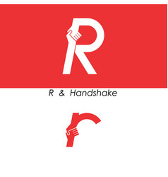 R - letter abstract icon and hands logo design vector