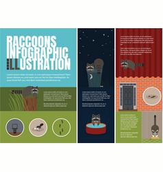 raccoons problems of livelihoods of vector image