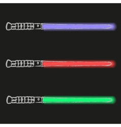 Red blue and green light future swords doodle vector