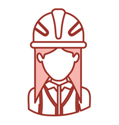Red contour of half body of faceless female vector