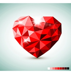 Red Diamond jewel heart vector image