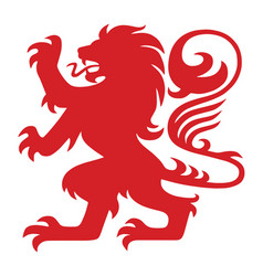 Red heraldry lion logo mascot vector