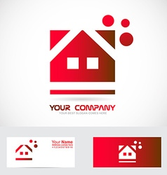 Red house real estate logo vector image