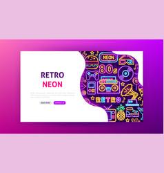 Retro neon landing page vector