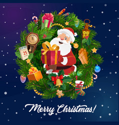 santa claus with christmas gift in xmas tree frame vector image