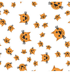 seamless pattern of cat head vector image